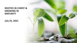 Rooted in Christ & Growing in Maturity - Rev. Lee Wong - Rosewood Baptist Church July 25, 2021