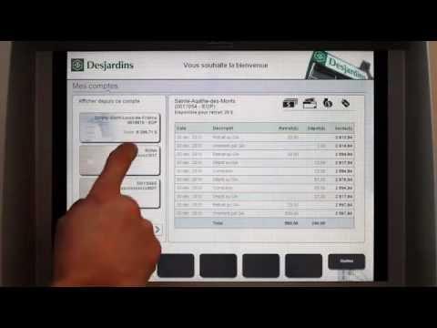 Guichet cran tactile caisse desjardins youtube for Banque des jardin