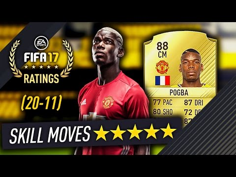88 POGBA IS 5 STAR SKILLS!! OFFICIAL TOP 50 FIFA 17 RATINGS (20-11) FUT17!
