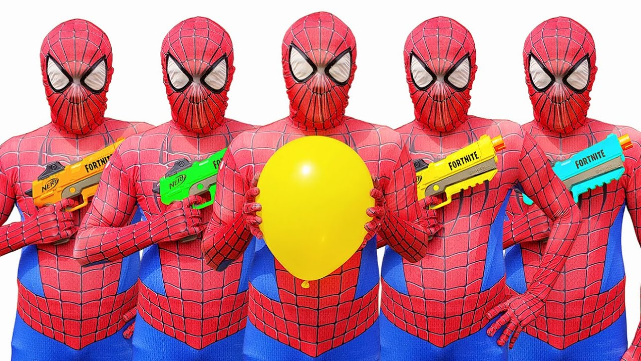 Spider Man Popping Balloons with Nerf Guns   Nerf War   Spider-Man In Real Life