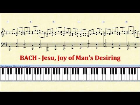 Piano Tutorial Sheet - BACH  Jesu, Joy of Man's Desiring - HD