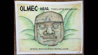 Time Lapse Watercolour Drawing of Olmec Head!