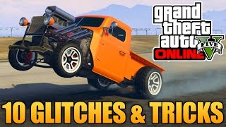 GTA 5 Glitches - 10 Glitches & Tricks in GTA 5 Online (Flying Glitch, Secret Customizations & More)(10 Glitches & Tricks in GTA 5 Online! Drop a Like on the video & Subscribe for more GTA 5 Glitches! More GTA 5 Glitches & Tricks: ..., 2015-02-14T21:00:00.000Z)