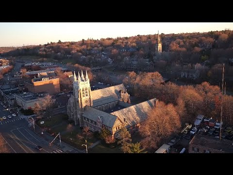 Boston Skyline From Newton MA at Sunset, Drone Footage (full flight)