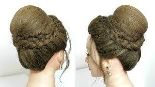 Beautiful High Bun Hairstyle With Dutch Braids For Wedding