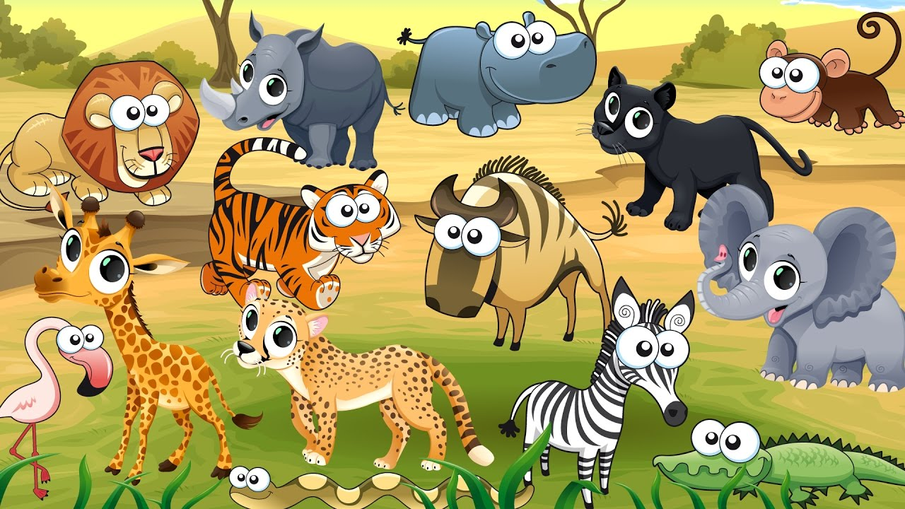 animals cartoon wild characters names sounds learn