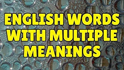 15 English Words with Multiple Meanings