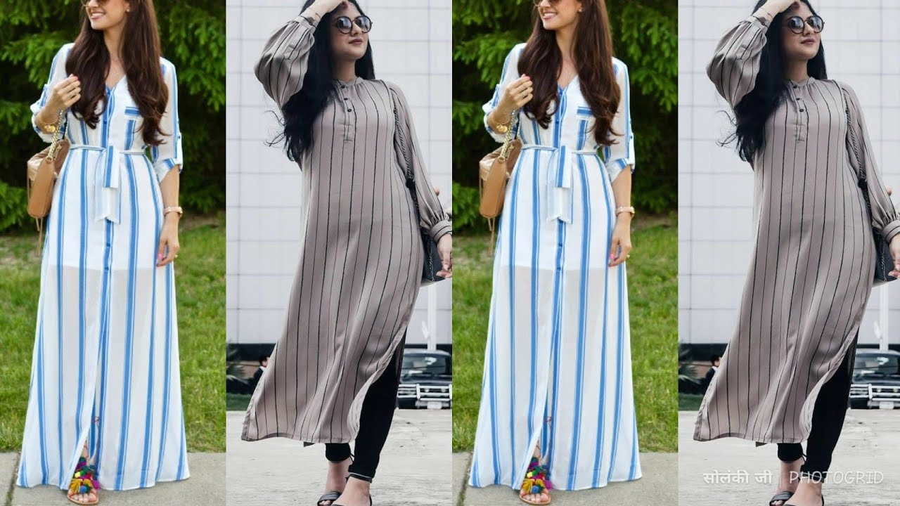 Latest Vertical Lines Design Shirt Long Kurti Gown For College Going Girls And Office Going Girls Youtube