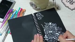 【ペイント??】黒い紙いっぱいにトライバル柄練習してみた