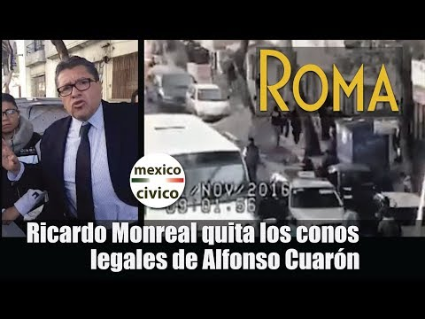 Ricardo Monreal quita los conos legales de Alfonso Cuaron, lo que provoca una pelea