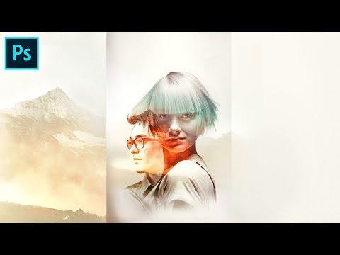 Шаблон с Двойной экспозицией Double Exposure Photoshop CC