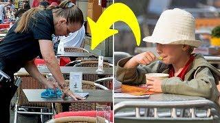 Garson Dondurma İsteyen Zavallı Çocuğa Kızdı, Ama Masasını Silerken Ağlamaya Başladı