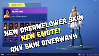 NEW FORTNITE UNRELEASED SKIN DREAMFLOWER & EMOTE SHOWCASE!//SKIN GIVEAWAY(SKULL TROOPER,GALAXY)