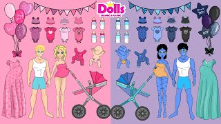 PAPER DOLLS FAMILY DRESS UP & NEWBORN CARE PAPER CRAFT DIY