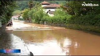 El río Baztán se desborda en Erratzu, tras la tormenta