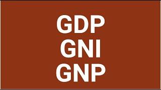 GDP GNP GNI