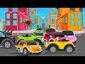 Giant Crusher Machine crushing all Baby Cars in City | Kids Cartoon Rhyme
