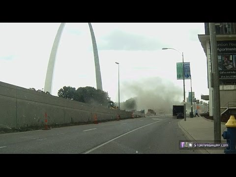 Gustnado at the Gateway Arch during severe thunderstorm, St. Louis - July 14, 2014