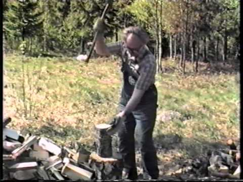Grandpa cutting wood