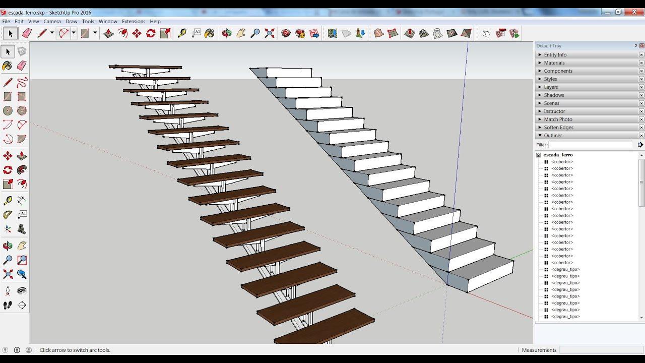 Como desenhar uma escada em perfis met licos no sketchup for Mobilia para sketchup 8