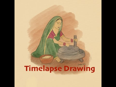 Aumkar Draws | North Indian Village Woman (Timelapse Drawing Video)