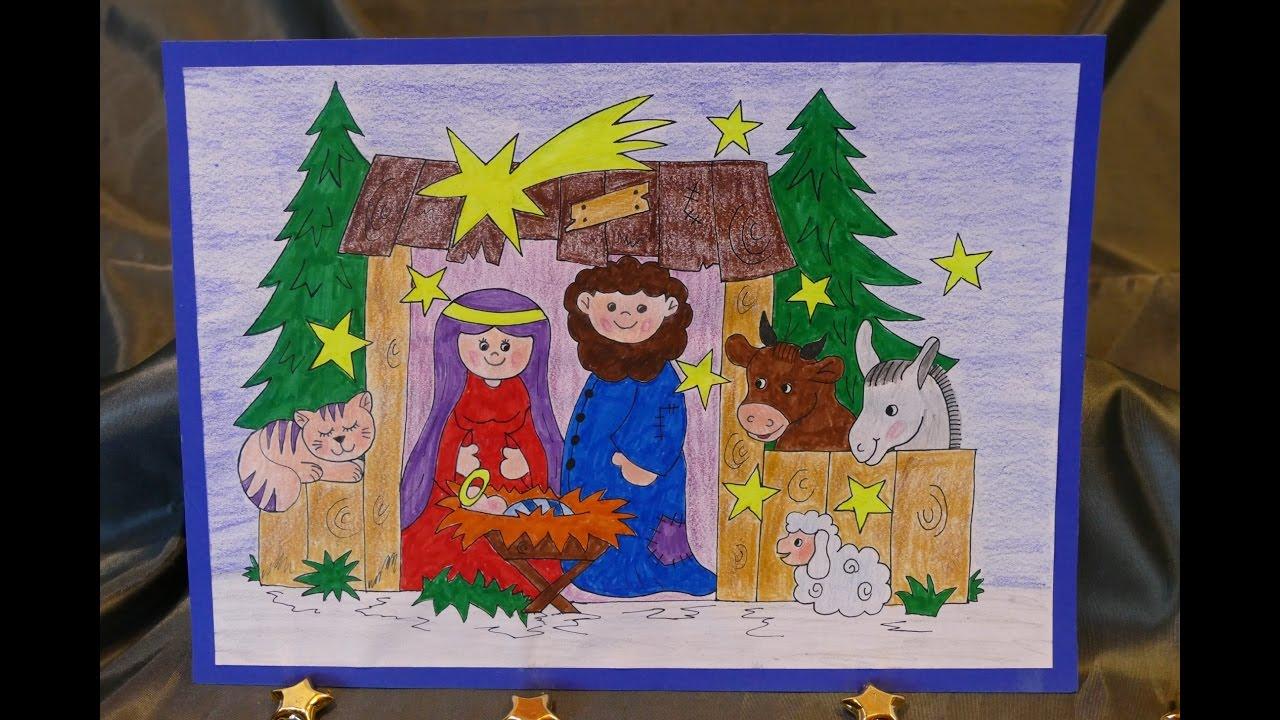 Weihnachtsbasteln Mit Kindern Krippe Zum Aufstellen Malen Und