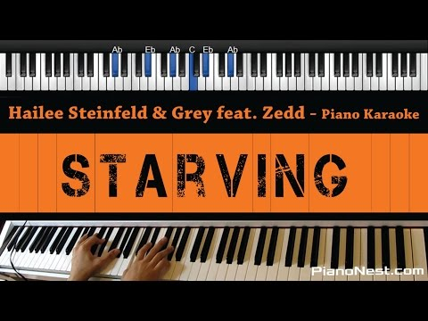 Hailee Steinfeld & Grey feat. Zedd - Starving - Piano Karaoke / Sing Along / Cover with Lyrics