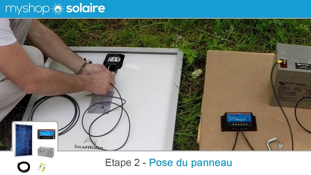 myshop solaire montage d 39 un kit panneau solaire 55w 85w. Black Bedroom Furniture Sets. Home Design Ideas