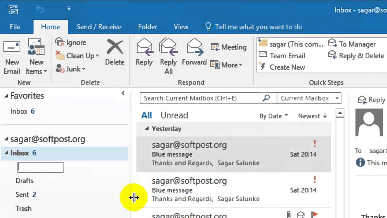 How to make folders in outlook mail