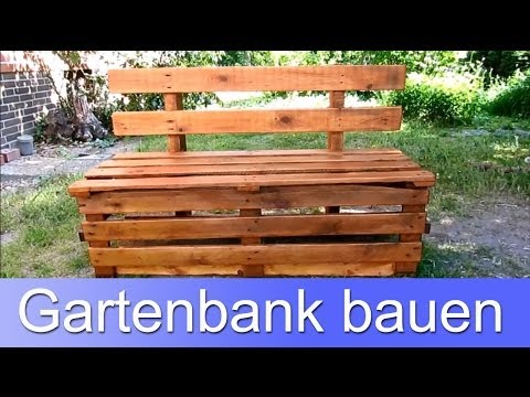 diy eine bank aus europaletten bauen doovi. Black Bedroom Furniture Sets. Home Design Ideas