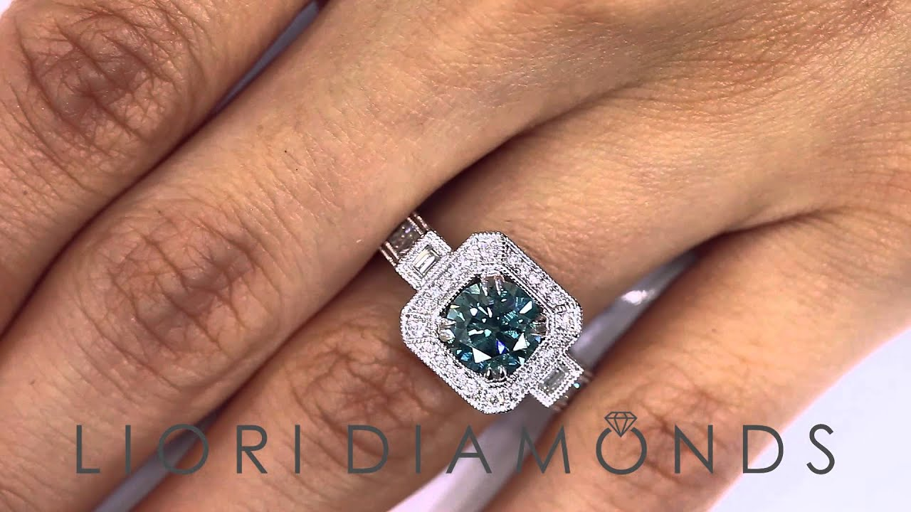 FD 530 3 15 Carat Fancy Blue Diamond Engagement Ring 18k White