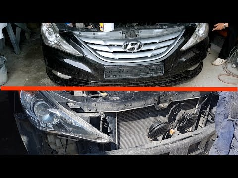 removing front bumper on hyundai sonata 6 / how to remove the front bumper  for hyundai sonata vi