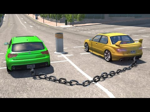 BeamNG drive - Chained Cars against Bollard