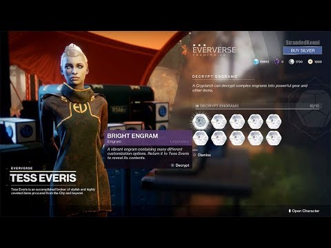 Destiny 2 - Decrypting 10 Bright Engrams from Eververse Trading Co.