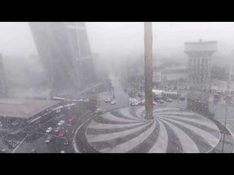 Gran nevada de Madrid el 23 de marzo Heavy snow in Madrid Spain on March 23