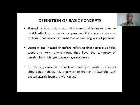 OCCUPATIONAL HEALTH AND SAFETY MANAGEMENT  Basic Concepts Lecture 1