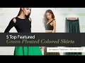 5 Top Featured Green Pleated Colored Skirts Amazon Fashion, Winter 2017