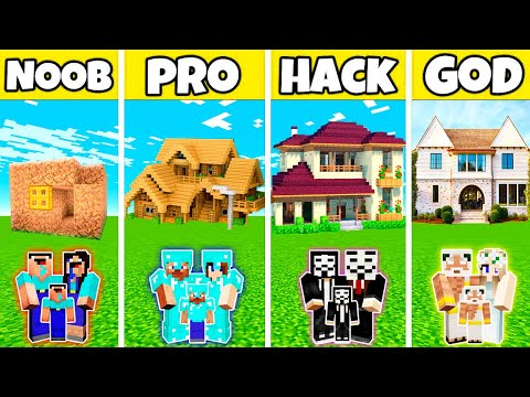 Minecraft: FAMILY MODERN PRETTY NICE HOUSE BUILD CHALLENGE - NOOB vs PRO vs HACKER vs GOD