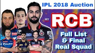 IPL 2018 Auction : RCB - Final Full List Of Players & Real Squad | Royal Challengers Bangalore
