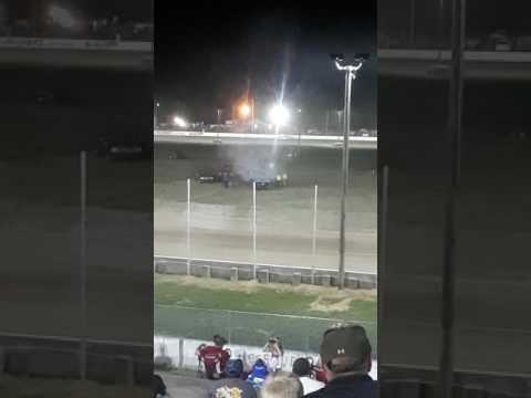 Car smoking at the thunderbird speedway
