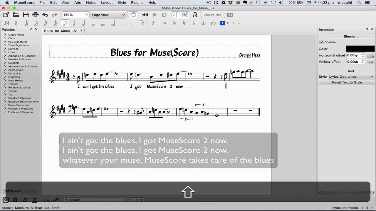 MuseScore in Minutes: Lesson 6 - Text, Lyrics and Chords