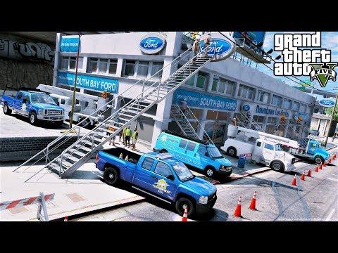 GTA 5 Real Life Mod #104 Building A Ford Dealership In Los Santos - GTA 5 Construction Mod