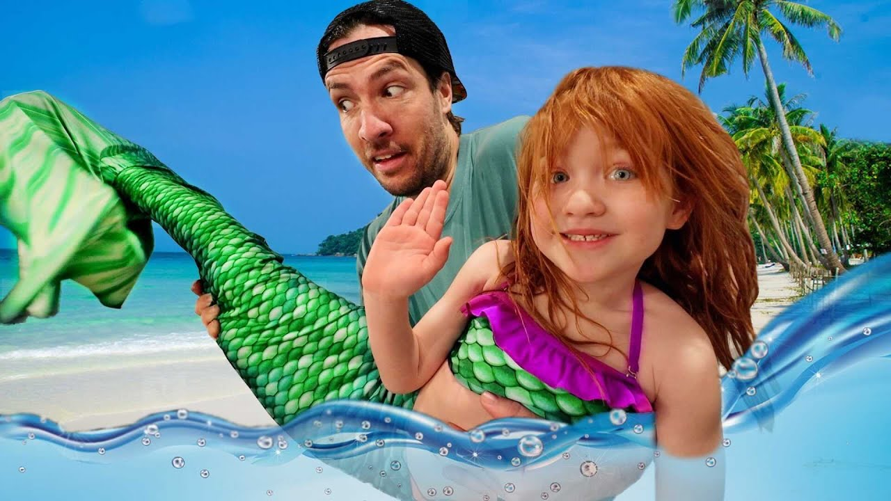 A LOST MERMAiD!!  5 year old Mermaid learns how to be a REAL Kid! Adley magic backyard pool makeover