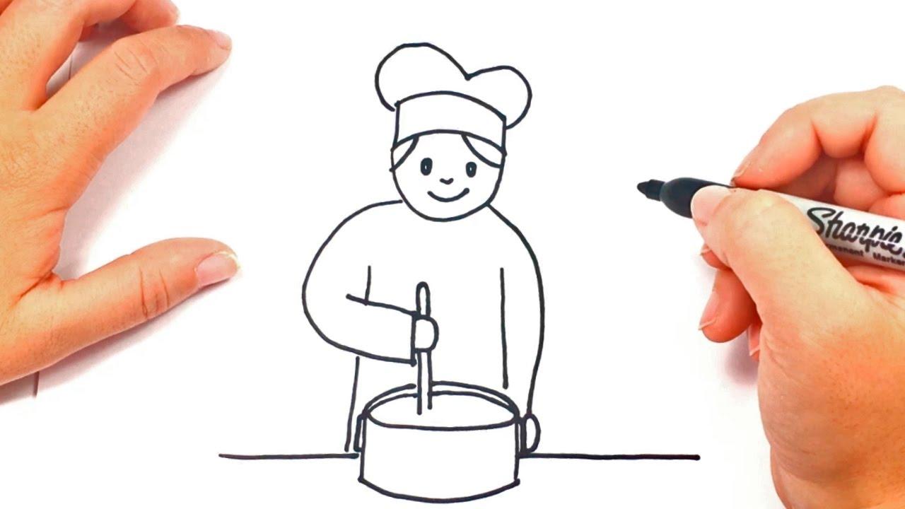 C mo dibujar un cocinero paso a paso dibujo f cil de for Herramientas de un cocinero