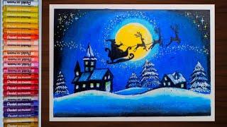วาดภาพวันคริสต์มาส ด้วยสีชอล์ค How to draw Happy Christmas Day