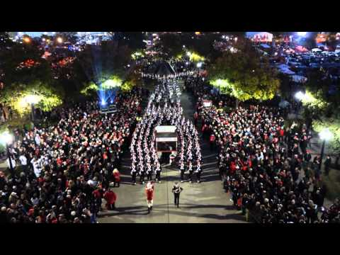 Ohio State Marching Band Marches to the Shoe on Blackout Night shot from Rotunda 10 17 2015