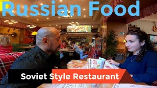 Russian cuisine in a retro soviet style restaurant in Moscow with my Russian Friend l Russia vlog