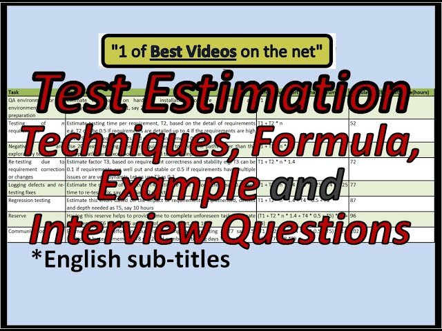 Test Estimation techniques  formula  example and Q A - YouTube
