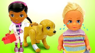 Куклы Барби. Штеффи на детской площадке. Доктор Плюшева для Таффи. Игры для девочек