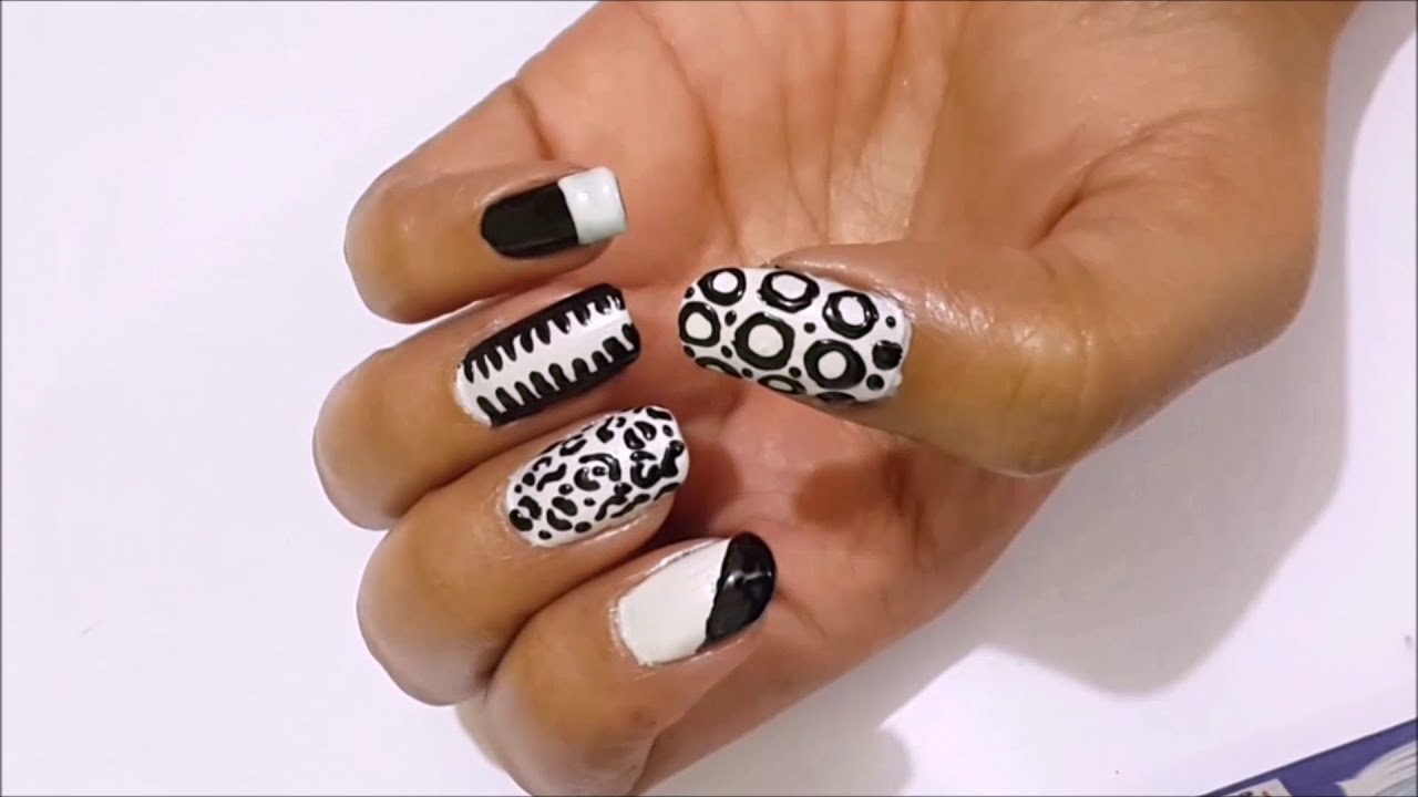 White color nail art - Animal Print Nail Art In Black And White Color Combination By Priyanka